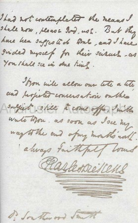 autographed letter of Charles Dickens