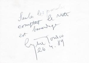 Ionesco autograph