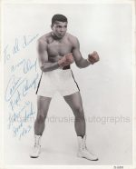 Autograph portrait by Muhammad Ali signed as Cassius Clay