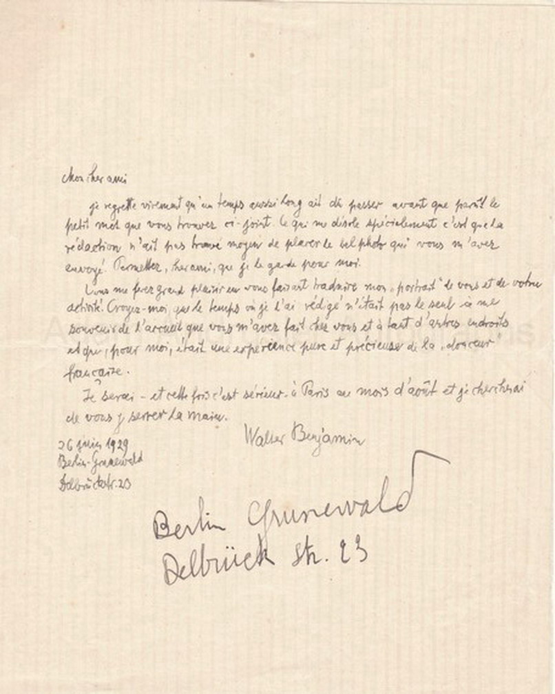 Autographed letter by Walter Benjamin possibly to Andre Gide