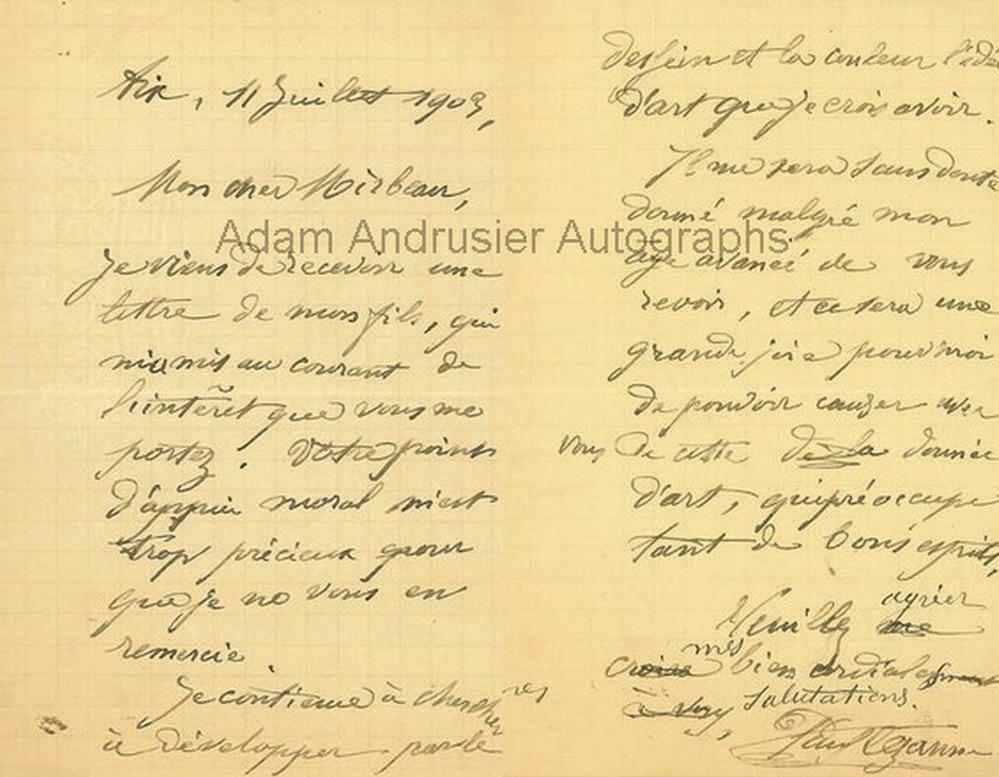 Autographed letter by Paul Cezanne