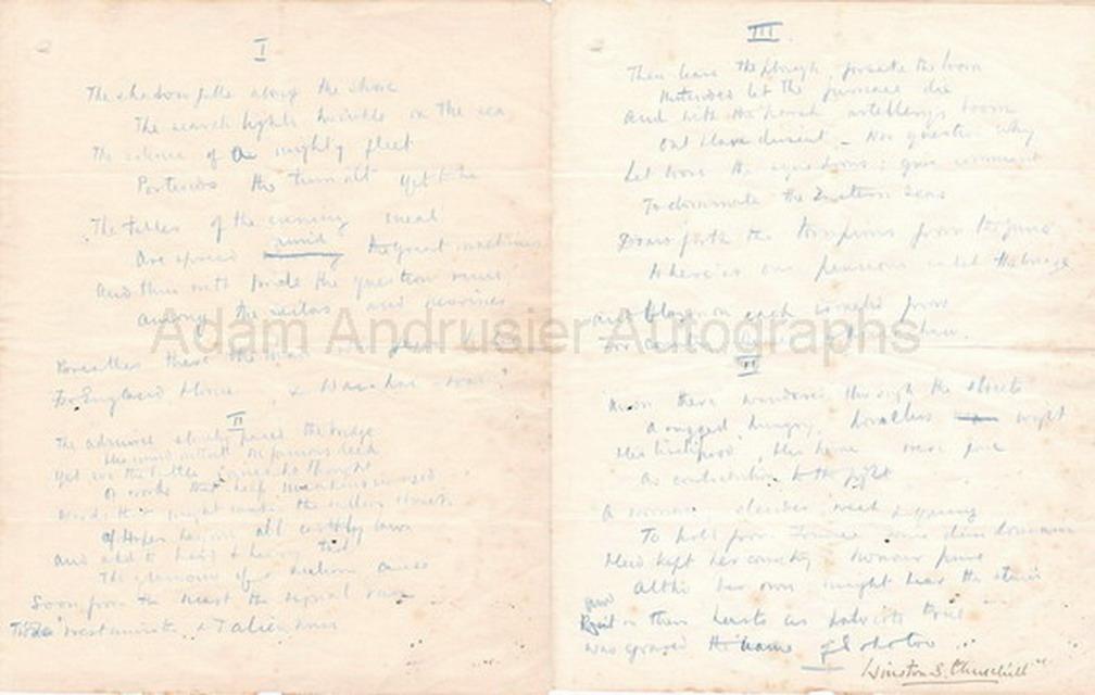 Autograph manuscript by Winston Churchill