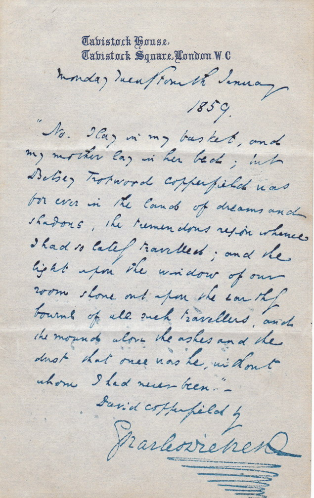 Autographed quotation by Charles Dickens from David Copperfield