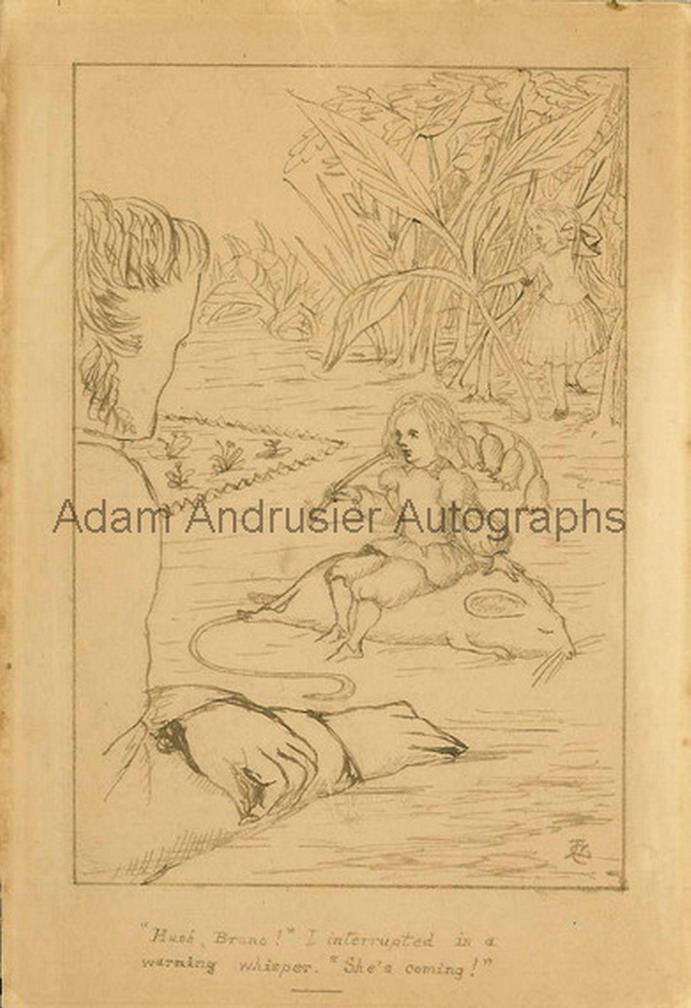 """An original ink illustration by Lewis Carroll, signed with initials, """"L.C.""""."""
