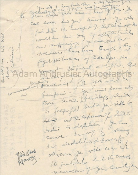 Autograph notes by Mahatma Gandi