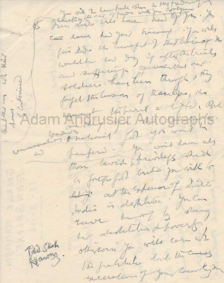 Autograph notes by Mahatma Gandi
