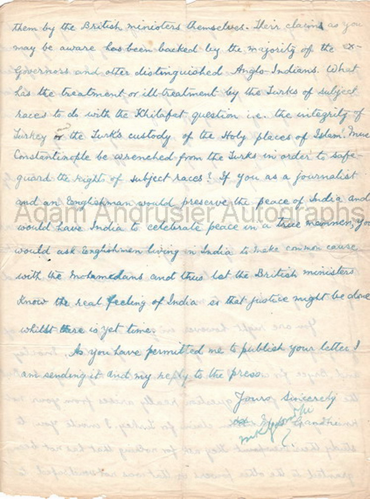 An important four-page signed letter by Mahatma Gandhi, Lahore, 15th December 1919.