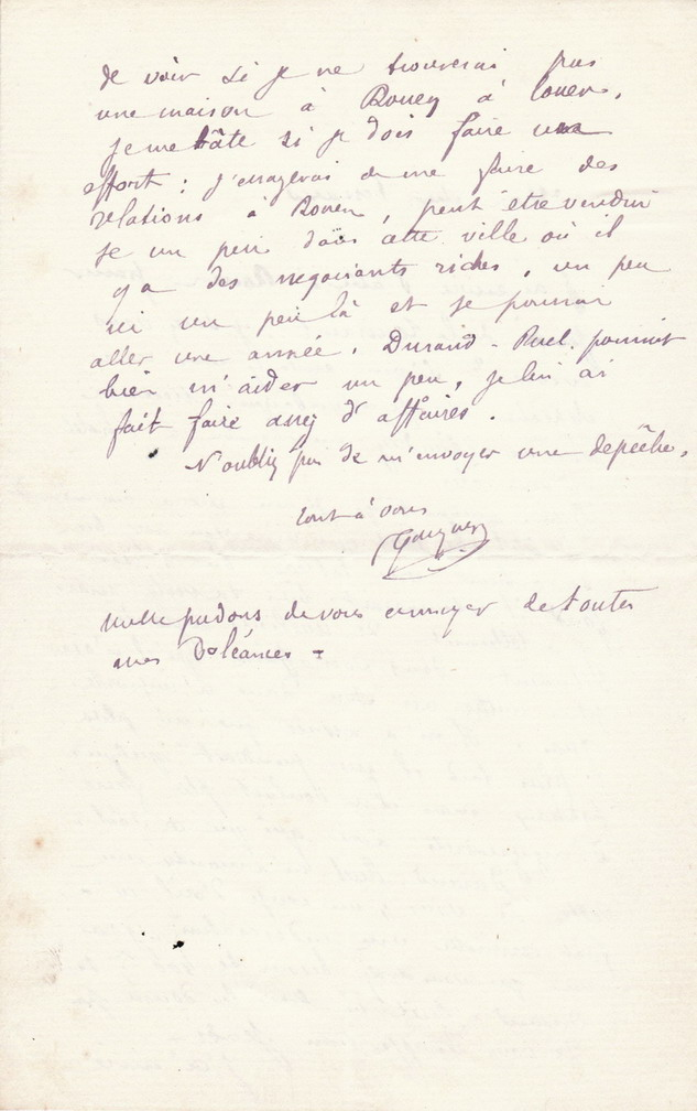 Gauguin autographed letter to Pissarro
