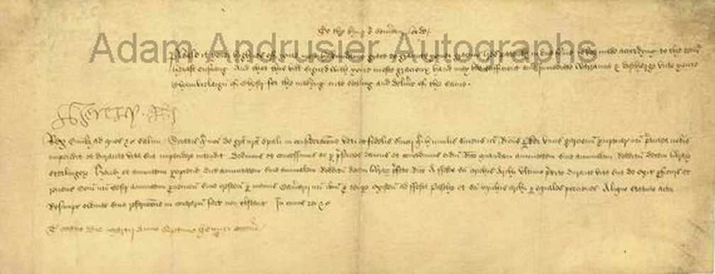 Henry VIII autograph document 1516