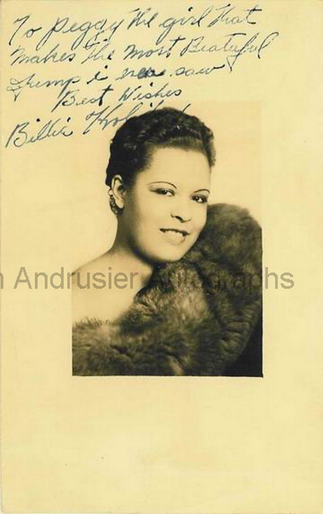 Billie Holiday autographed and inscribed portrait