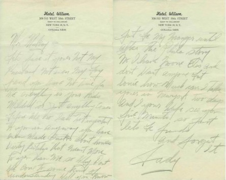 An astonishing two-page handwritten letter by Billie Holiday, circa 1950s.