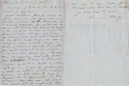 Autograph letter Victor Hugo Les Miserables