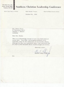 Autographed letter Martin Luther King