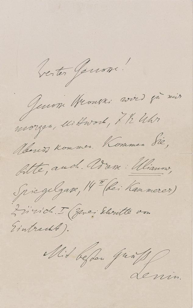 rare autograph letter Vladimir Lenin