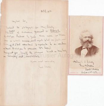 Rare autographed photograph Karl Marx