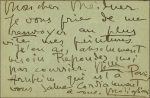 autographed letter by Modigliani