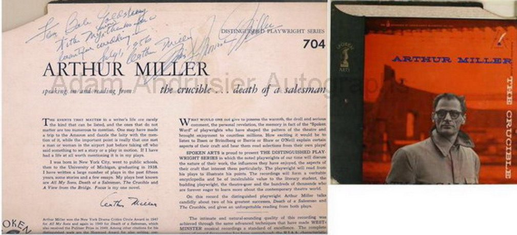 Marilyn Monroe and Arthur Miller autograph record on their wedding day