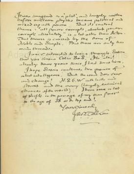 autographed letter Tolkien