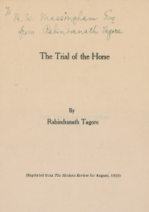 A signed pamphlet by Rabindranath Tagore